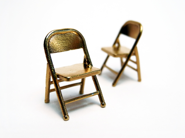 1:48 Miniature Pair of Folding Chairs 3d printed Printed in Raw Brass