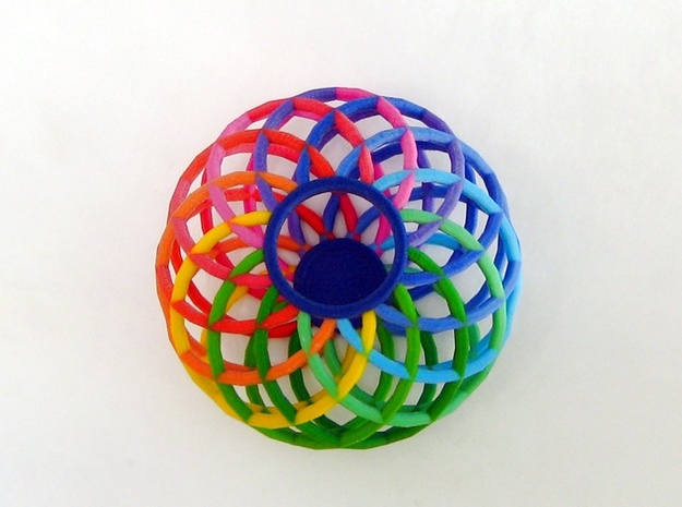Colorful Spectrum Bowl - in Full Color Sandstone 3d printed Gorgeous colors fit any decor.