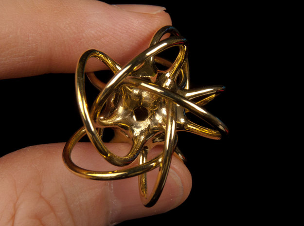 Tribal Fields (S) 3d printed Printed in Polished Brass