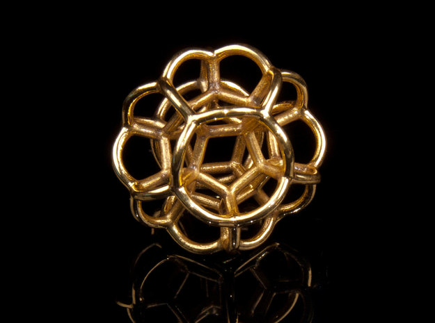 Soap Bubble Dodecahedron (S) 3d printed Printed in Polished Brass