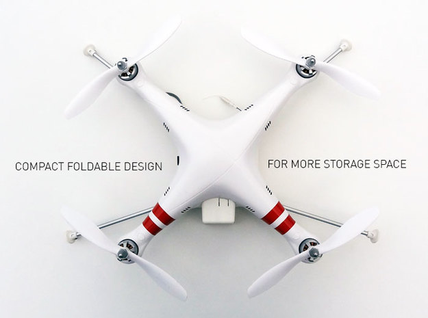DJI Phantom Foldable Battery Landing Gear 3d printed DJI Phantom Foldable Battery Landing Gear top view folded