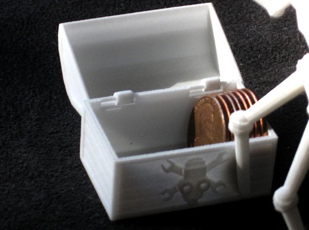 PirateRobot 3d printed Chest also stores pennies.