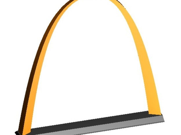 """Inverted Weighted Catenary Arch 3"""" 3d printed Perspective view from above"""