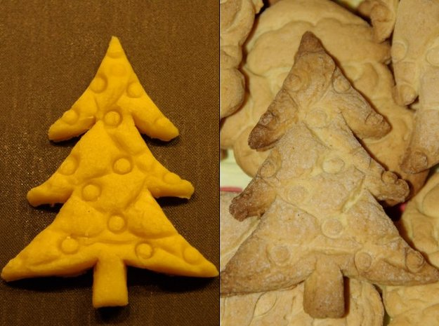 Christmas Tree Cookie Cutter (3 layers, 10 mm) 3d printed Dough just after cutting and after baking