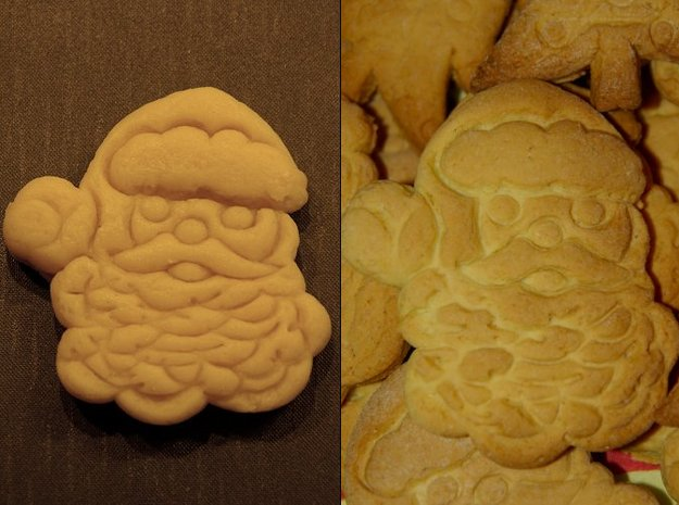 Santa Claus Cookie Cutter (3 layers, 10 mm) 3d printed Dough just after cutting and after baking