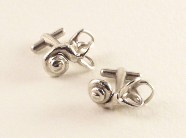 Inner Ear Cufflinks (Pair) 3d printed Material: sterling silver