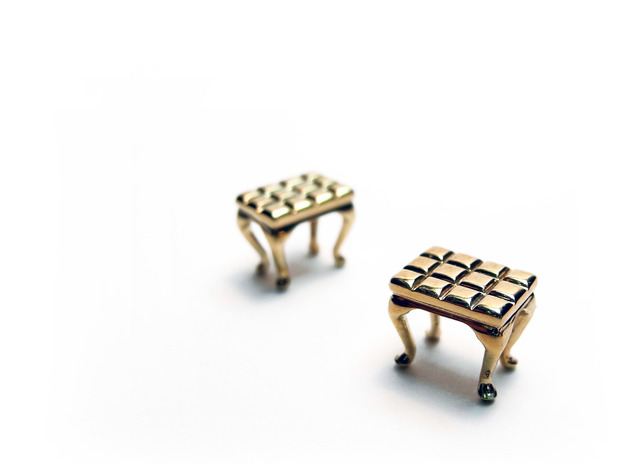 1:48 Tufted Vanity Stool 3d printed Printed in Brass & Polished