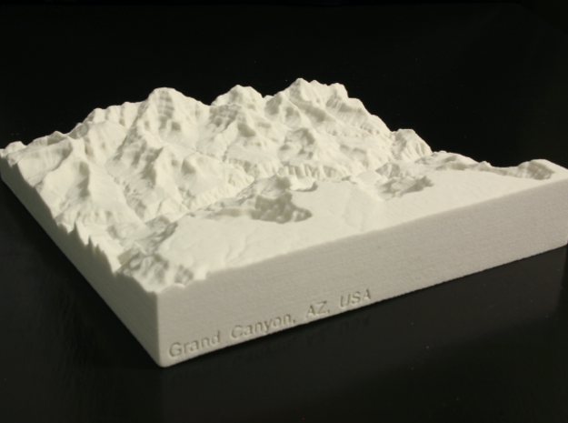 6'' Grand Canyon, Arizona, USA, Sandstone 3d printed Photo of actual model, looking NE over the South Rim