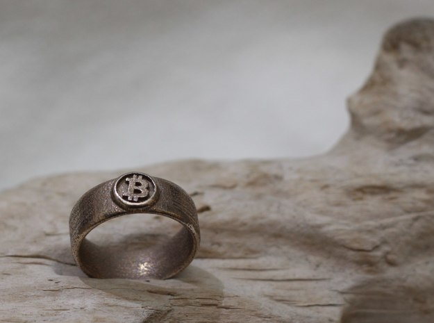 Bitcoin Ring (BTC) - Size 9.5 (U.S. 19.35mm dia) 3d printed Bitcoin Ring - Stainless steel