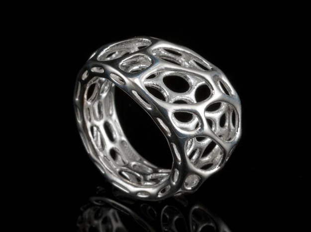 2-Layer Twist Ring 3d printed in Polished Silver