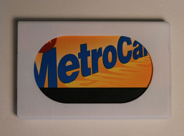 Slim Wallet with Metrocard Slot 3d printed White