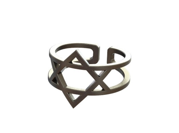 Star Of David Ring 3d printed Polished nickel steel- Rendered