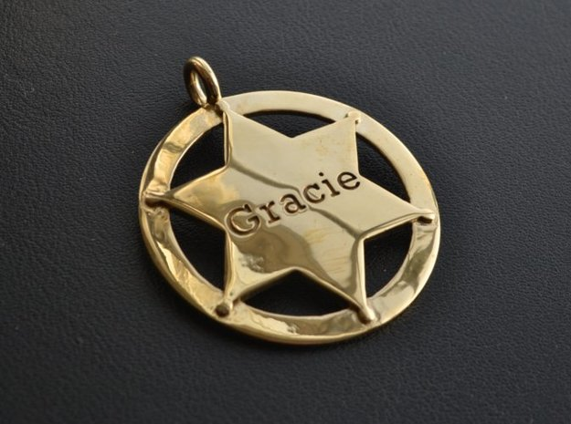 Sheriff's Star (6-point) Pet-Tag/Pendant (Thinner) 3d printed Tag shown in polished brass