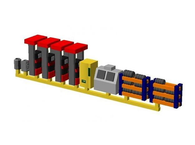 Modern Gas Station Accessories - Nscale 3d printed Color Render