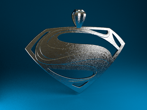 Man Of Steel - Pendant 3d printed Stainless Steel Render