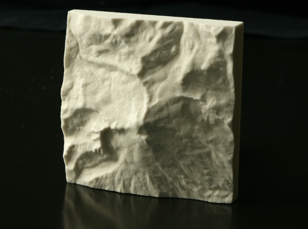 3'' Mt. Baker, Washington, USA, Sandstone 3d printed Photograph of actual print, North is up