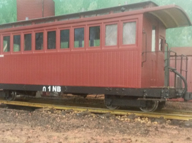 Victorian Railways NG NB platform car body 3d printed Completed model with scratch built underframe and end rails, Cambrian Models fox bogies and Sierra Valley wheels, Accucraft couplers