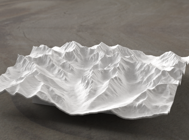 6''/15cm High Tatras, Poland/Slovakia, WSF 3d printed Radiance rendering of model, viewed from Poland, looking SSW
