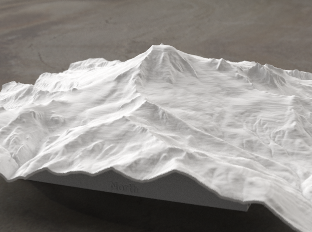 8'' Mt. Baker, Washington, USA, WSF 3d printed Radiance rendering of model data, viewed from the West