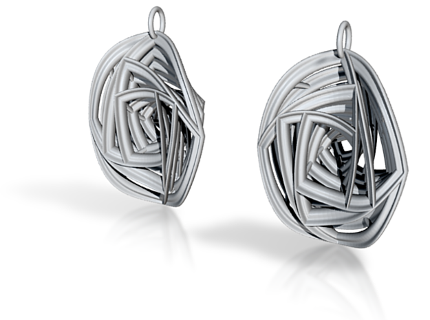 Rose Stripe Earrings 3d printed shapeways rendering