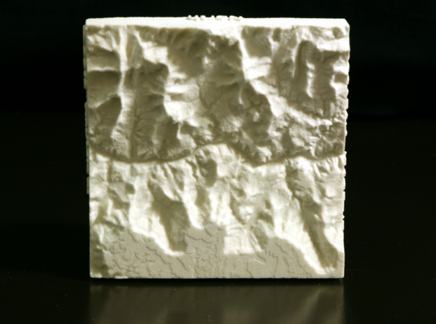 3'' Grand Canyon, Arizona, USA, Sandstone 3d printed Photo of model prototype, with raised writing instead of inset; North is up. Model as delivered will have inset writing.