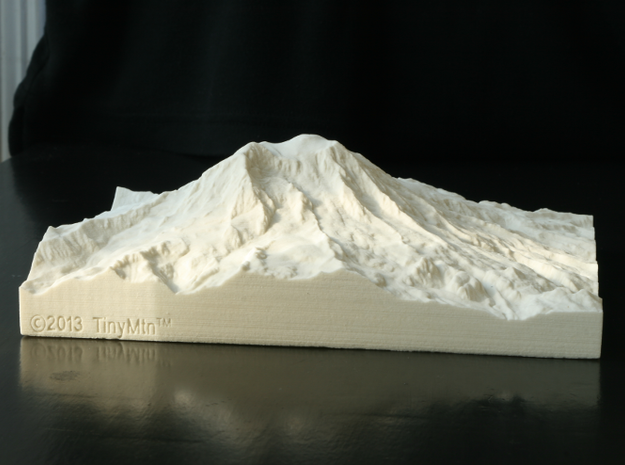 8'' Mt. Rainier, Washington, USA, Sandstone 3d printed Photo of actual print from the West, featuring Liberty Cap and Sunset Amphitheater.