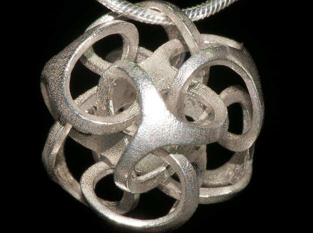 Metatron 24mm (1 inch) 3d printed Silver print on chain