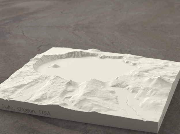 6'' Crater Lake, Oregon, USA, Sandstone 3d printed Radiance rendering of model, viewed from the south.