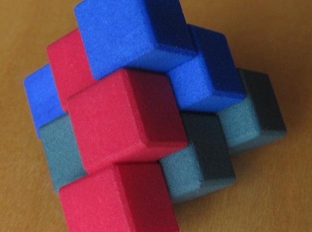 Three Piece Block 3d printed Assembled puzzle