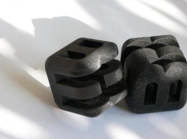 G E B upper (4x4x4) 3d printed Black Strong & Flexible