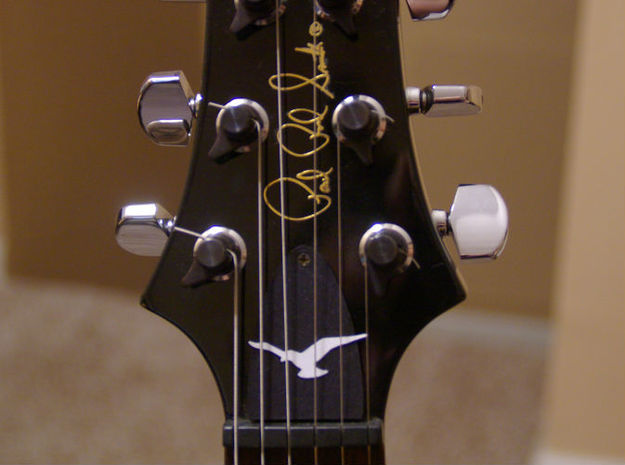 Truss Rod Cover for PRS Guitar - Seagull Insert 3d printed Cover in black and bird in white