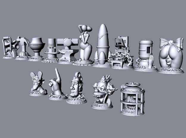 Mr. Big Shot 3d printed This image shows the relative size of all models in the collection.