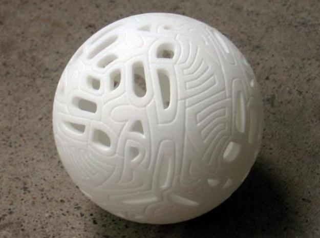 Dodecahedron Autologlyph 3d printed IRL. Might be worthwhile trying an ink wash to really bring out the grooves.