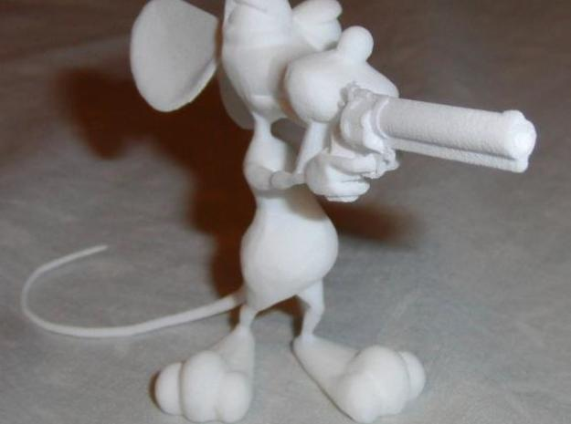 Dirty Rat -Gun Small v4 3d printed Front view, unpainted, in WSF.