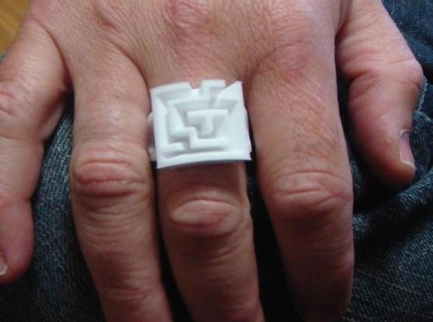 AMazeRing (size 13) 3d printed A wonky maze ring in size 13