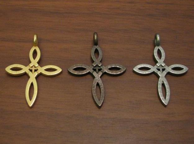 Ichthus Cross Pendant 3d printed Antique Bronze Glossy, Stainless Steel, and Gold Plated Glossy crosses