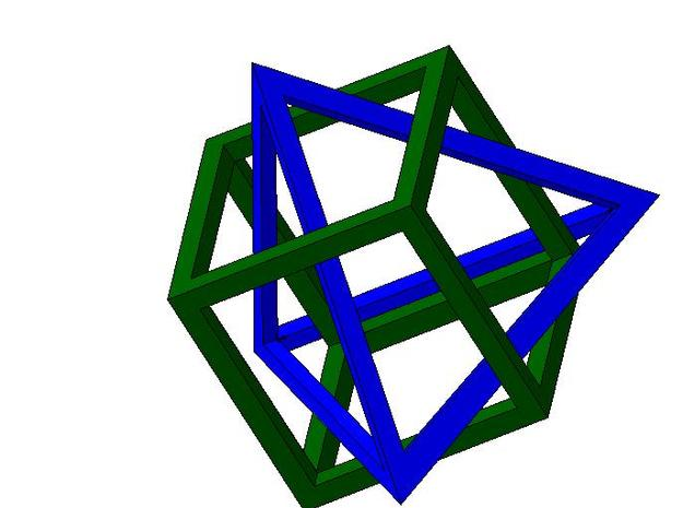 Tetrahedron in captivity of cube 3d printed Tetrahedron in captivity of cube