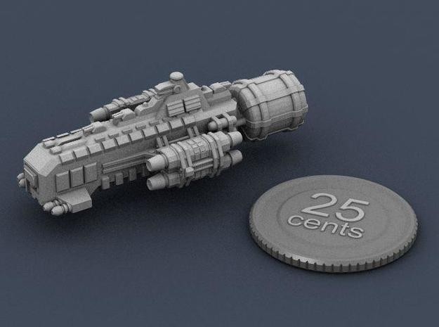 Jovian Schild class Escort Cruiser 3d printed A render of the ship, plus a virtual quarter for scale.