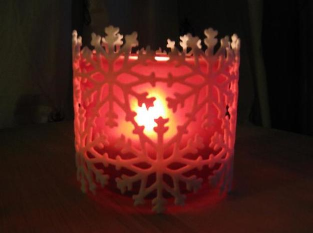 Snowflake Tea Light Ring 3d printed (photo of slightly larger version)