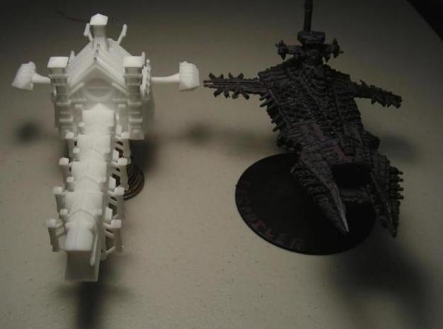 Gothic Battleship 3d printed Photo with GW Despoiler model for scale