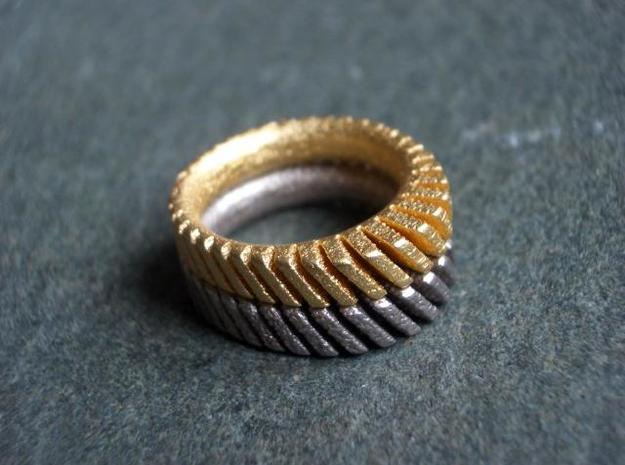 Helical Sun Sprocket 3d printed gold and steel