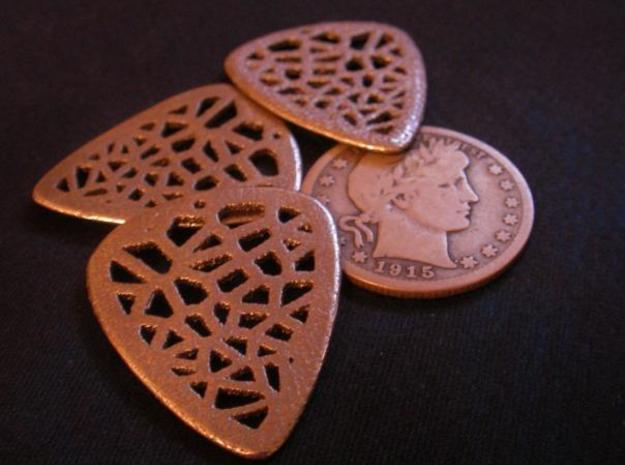Voronoi Guitar Pick 3d printed Macro showing texture.