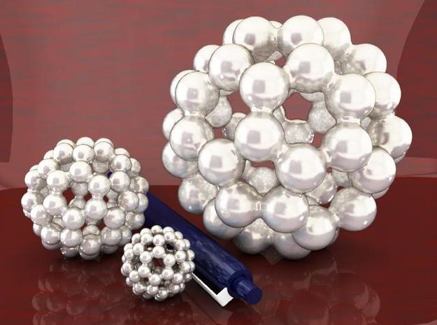 C60 - Buckyball - L - Steel 3d printed Three Sizes, Steel