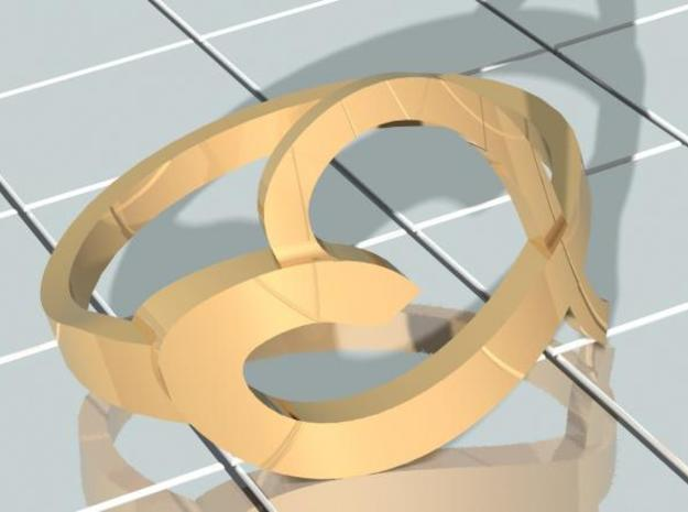 Continuous Heart Ring 3d printed Iso Gold Render