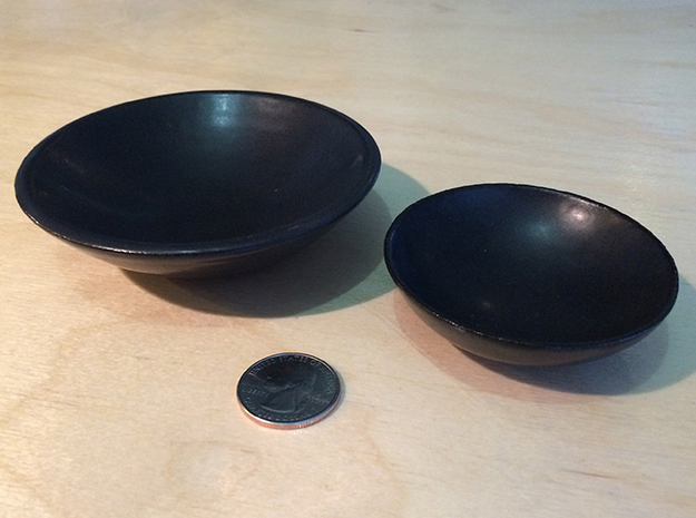"""BlakOpal Dipping Bowl - 4 in. 3d printed Shown with 3"""" matching pinch bowl"""