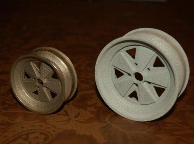 Fuchs wheel - 15x7 - 80mm Diameter 3d printed Front view - Stainless steel and alumide