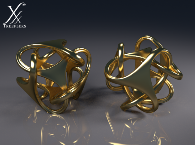 Tetron earrings 3d printed Cycle render (polished brass).