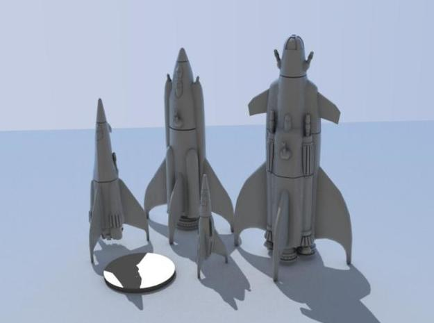 Martian War Rocket Fleet 3d printed From left to right, the Kuato, Richter, Quaid, and Cohaagen. Silver disk represents a US quarter.