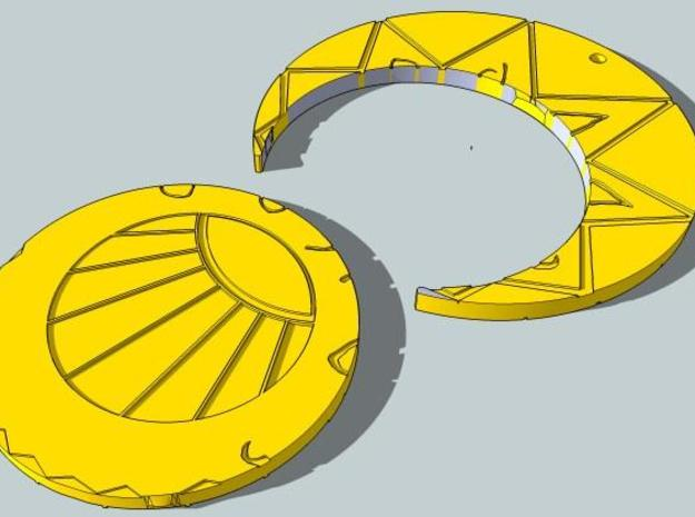 Estaban and Zia's Medallion from The Mysterious Ci 3d printed Seen in two parts
