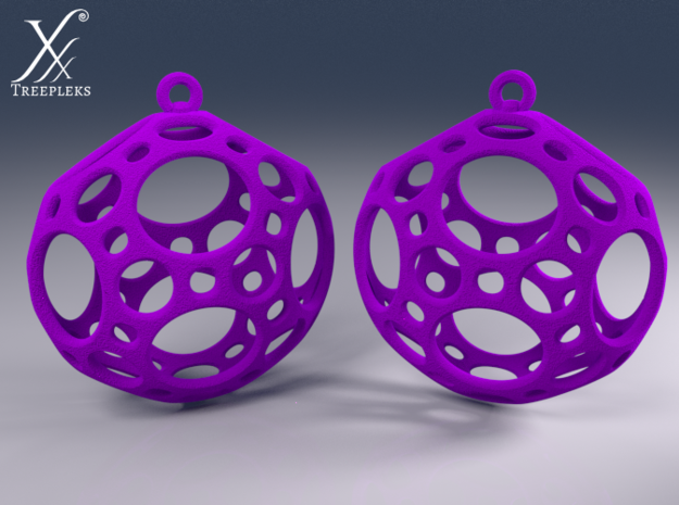 Porthole Earrings 3d printed Cycle render (fun in violet)